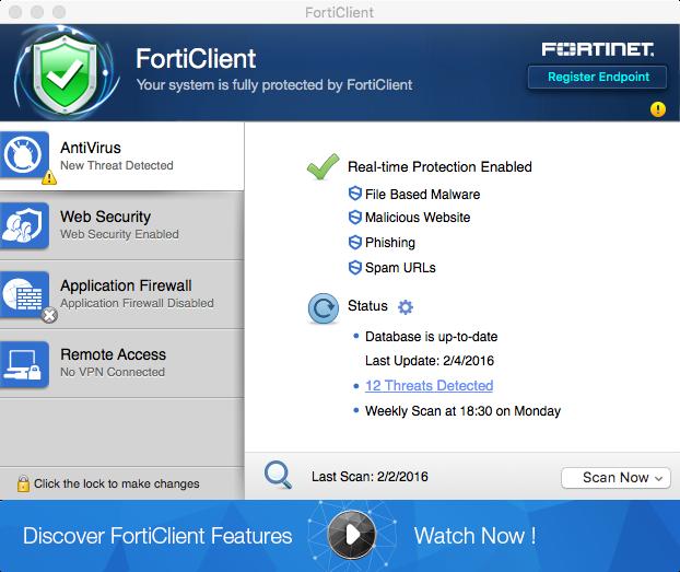 Forticlient screenshot